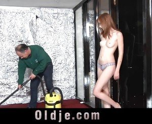 Freckled redhead girl making blowjob to 58 older guy