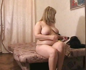 Horny Fat BBW Blonde GF with big ass masturbating her pussy