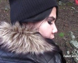 Greedy teen sucks fat cock outdoor