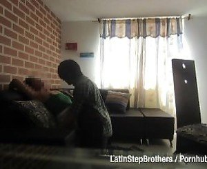 Stepbrother licking his sister pussy on the couch