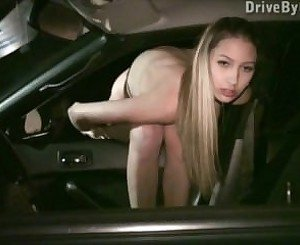 Kitty Jane PUBLIC blowjobs through car window