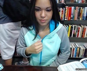 sexy teen latina gets naked inlibrary