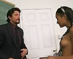 Chocolate skin School Girl Gets Her Grades Up
