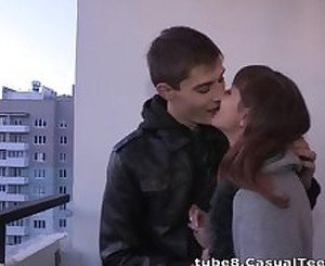 Casual Teen Sex - Hot casual fuck in a hallway