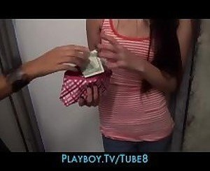 Shy teen amateur is slowly convinced to take cash in trade for some pussy