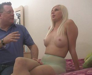 Blonde beauty sucks dick and swallows cum