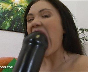 Aiza gaped and prolapsed from massive dildo