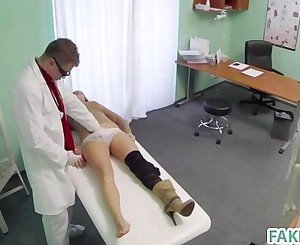 Fake doctor fucks a brunette babe
