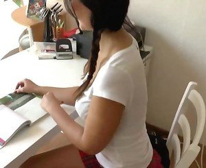 naughty-hotties net -  studying - cum on face