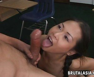 Asian schoolgirls with a shaven pussy gets fu