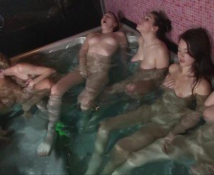 Six girls together in masturbation marathon
