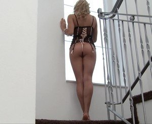 Intense anal sex right there, on the staircase