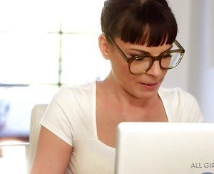 Glasses-wearing brunette with bangs and her acting