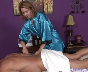 Blue robe brunette rubbing this dude's back