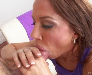 Purple tank-top brunette sucking cock and getting throat-fucked