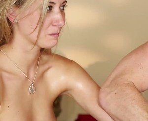 Blonde enjoys getting fucked by a hung masseur