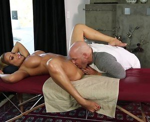 Tanned and busty brunette licked and dicked by a guy