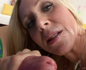 Pink panties blonde MILF sucking a massivecock