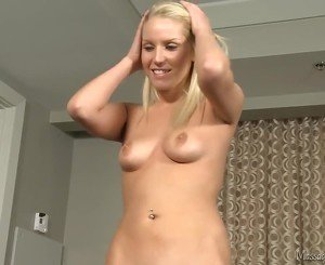 Blonde stroking several client cocks at once